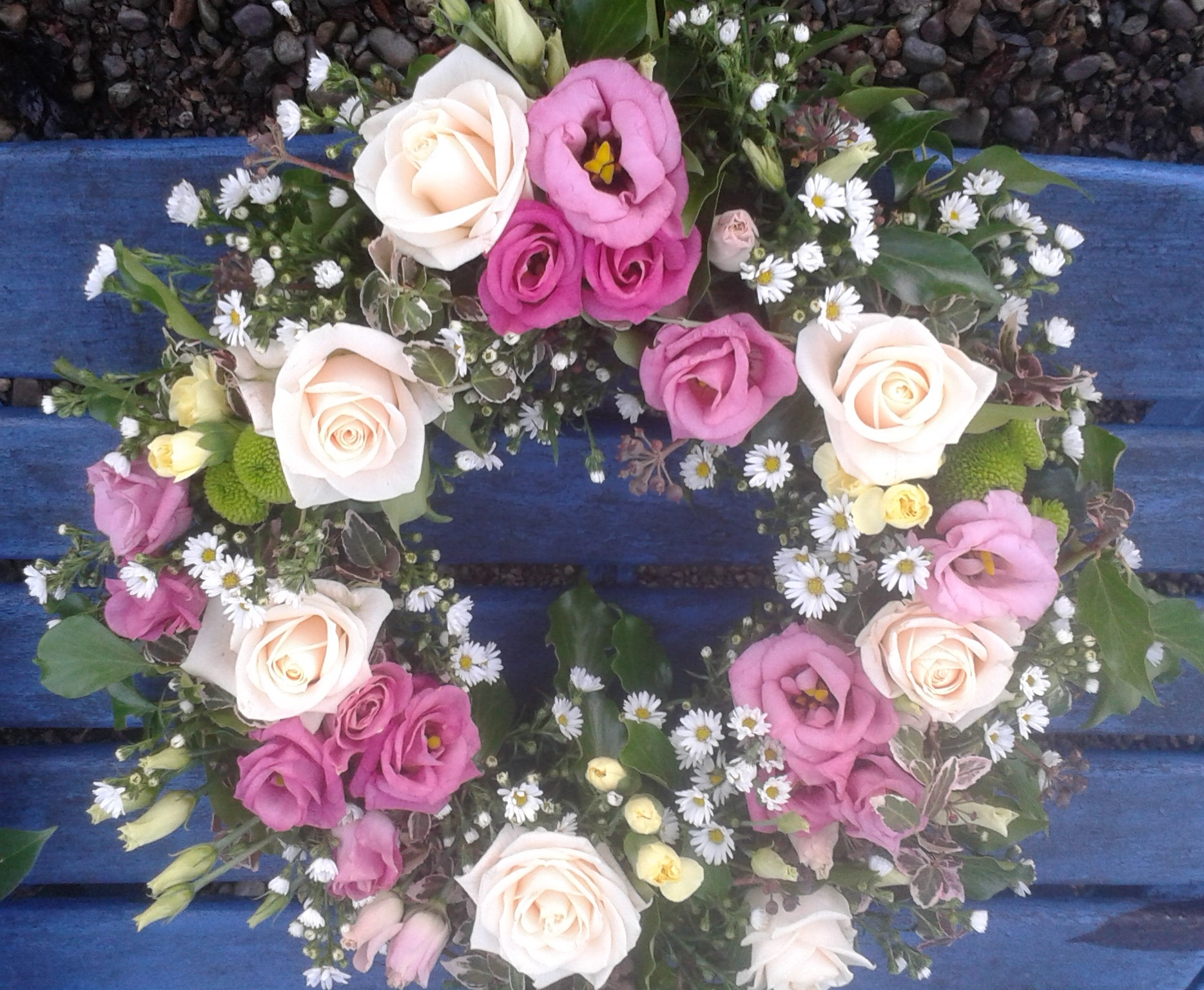 Funeral remembrance flowers the secret garden cork kerry pink rose daisy wreath izmirmasajfo